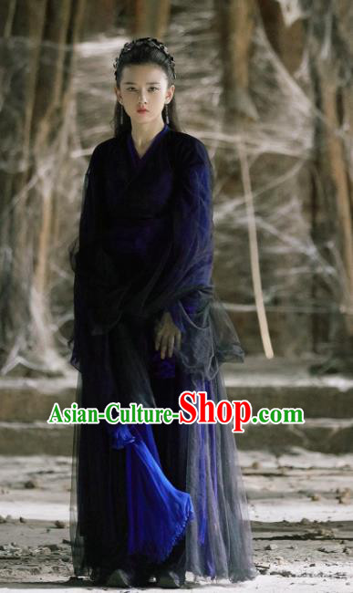 Chinese Novoland Eagle Flag Ancient Drama Female Swordsman Yu Ran Replica Costumes and Headpiece for Women