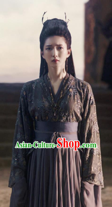 Chinese Ancient Drama Novoland Eagle Flag Princess Gong Yuyi Replica Costumes and Headpiece for Women
