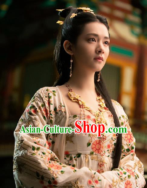 Chinese Historical Drama Ancient Princess of Yin Empir Novoland Eagle Flag Xiao Zhou Replica Costumes and Headpiece for Women