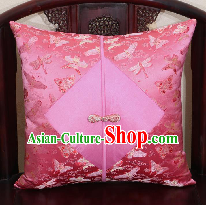 Chinese Classical Kite Pattern Pink Brocade Pipa Button Back Cushion Cover Traditional Household Ornament
