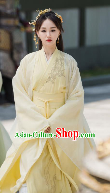 Drama Queen Dugu Ancient Chinese Sui Dynasty Princess Embroidered Historical Costume and Headpiece for Women