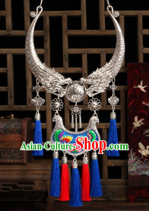 The Miao Nationality Antique Silver Coins Tassels Necklace Earring Jewelry Set
