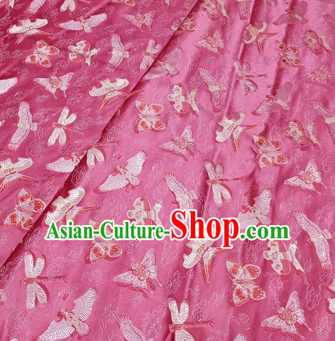 Traditional Chinese Classical Kites Pattern Design Fabric Rosy Brocade Tang Suit Satin Drapery Asian Silk Material